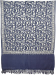 Blue Flowers Kashmiri Embroidery Shawl [3585]