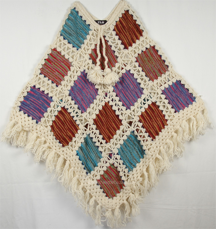 Crochet Patch Poncho in Fall Colors, White Givry Fall Crochet Poncho