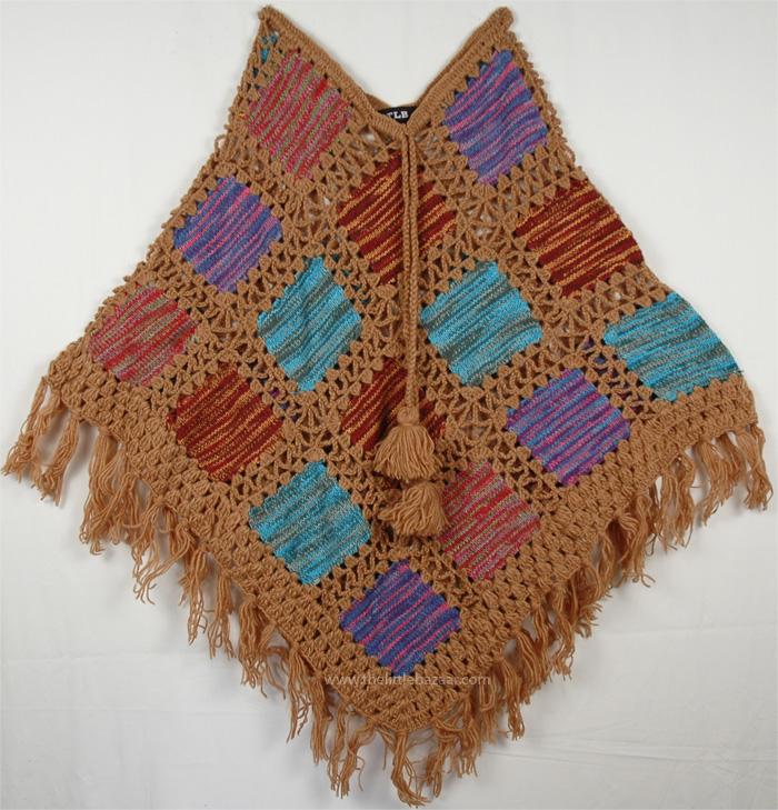 Crochet Patch Poncho in Fall Colors, Cape Palliser Crochet Fringe Poncho