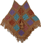 Crochet Patch Poncho in Fall Colors [4235]