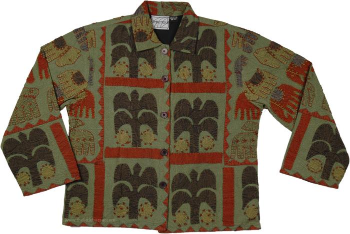 Hippie Applique Work Jacket, Exotic Applique Siam Jacket