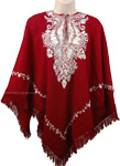 Dark Red Himalayan Wool Poncho