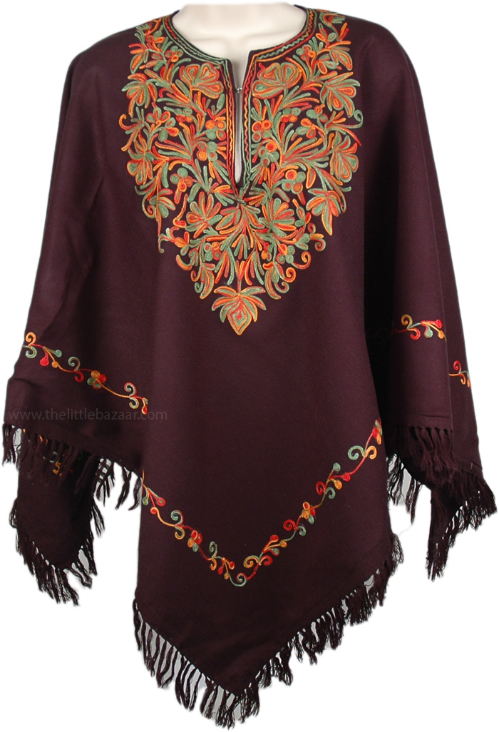 Chic Party Wear Poncho with Embroidery, Black Cold Weather Poncho with Fall Embroidery