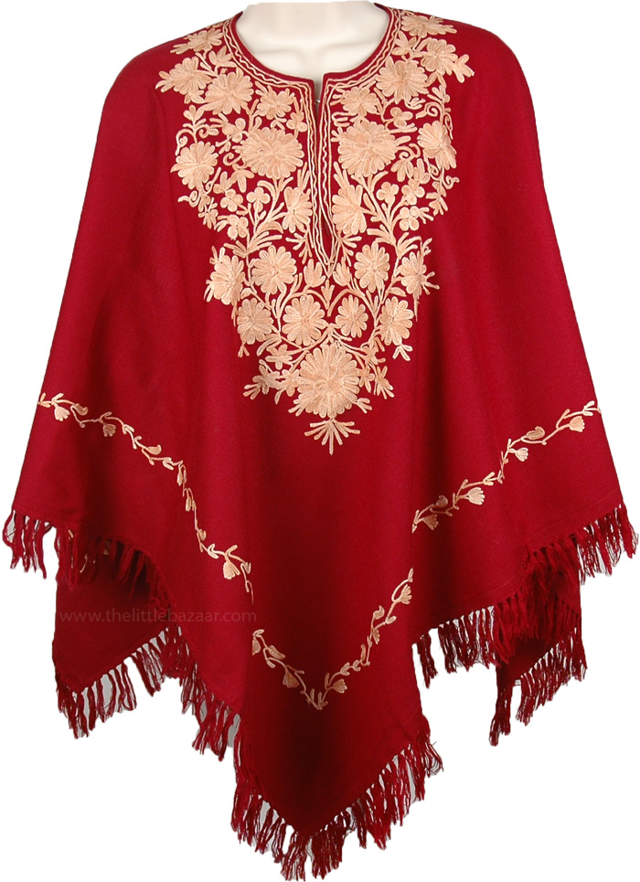 Romantic Thrill Maroon Foothill Poncho, Burgundy Wool Poncho in Champagne Embroidery