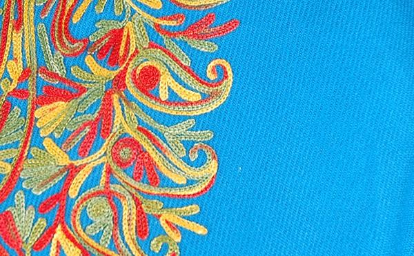 Boston Blue Paisley Fringed Wool Poncho