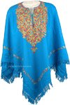 Multicolor Floral Embroidered Turquoise Poncho [4704]