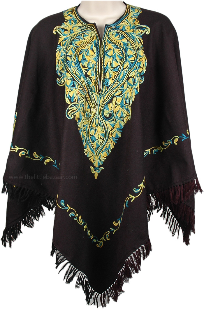 Embroidered Neckline Woollen Poncho, Ladies Embroidered Wool Black Poncho with Fringe