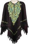 Embroidered Neckline Woollen Poncho [4705]