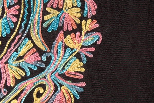 Pure Black Unique Wool Poncho