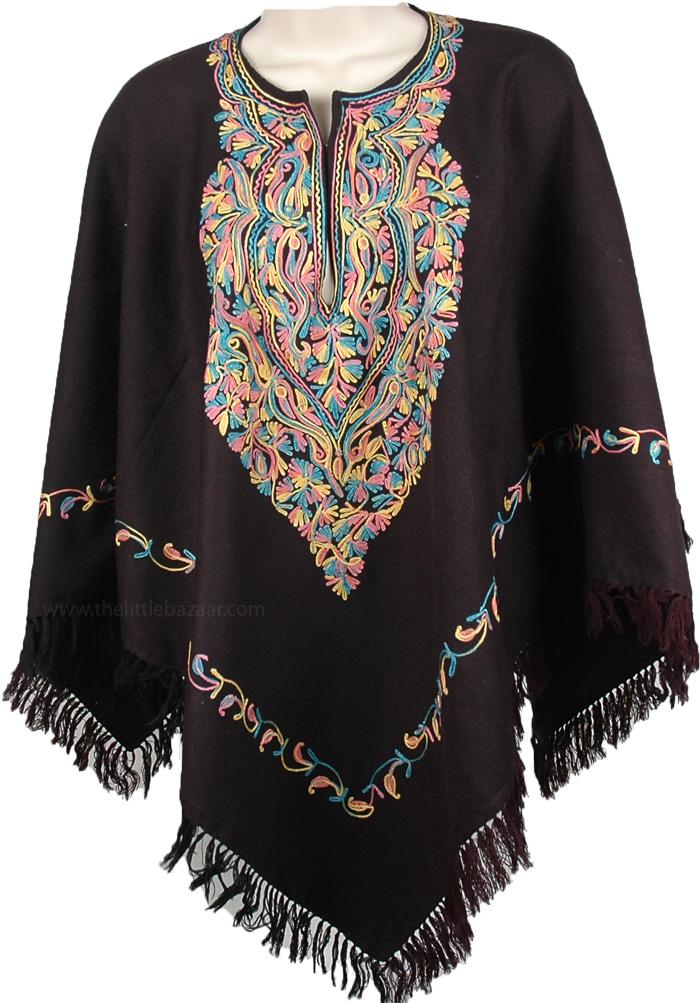 Multicolor Floral Embroidered Black Poncho, Pure Black Unique Wool Poncho