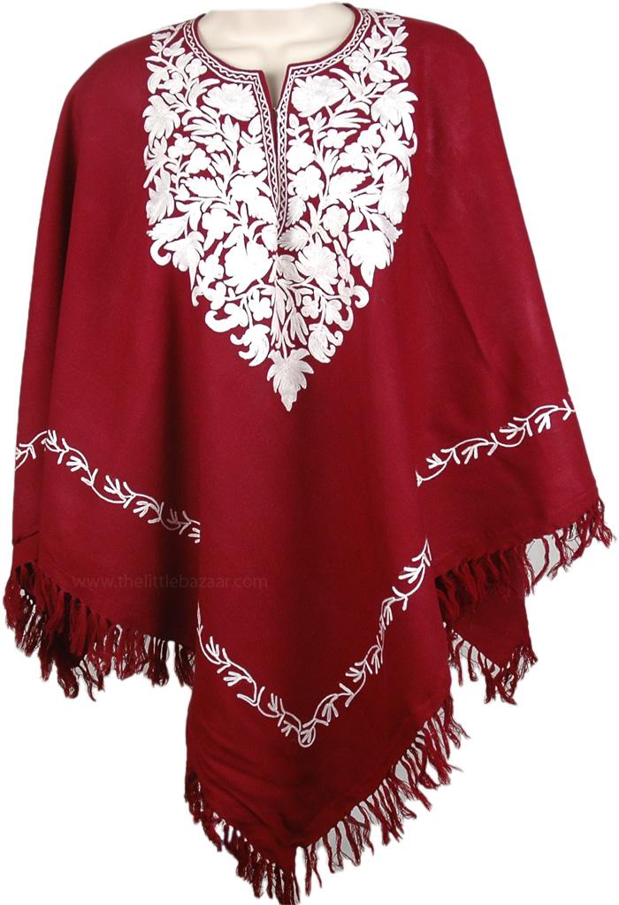 Red Wine Winter Wool Poncho, Merlot and White Himalayan Warm Wool Poncho