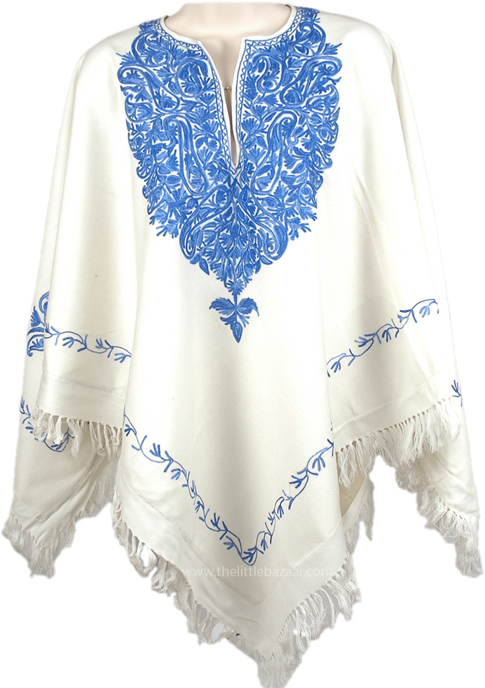 Beautiful Blue Winter Wool Poncho, Westar Kashmiri Embroidered Wool Poncho