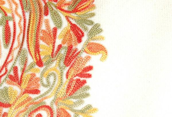 Colorful Floral White Wool Poncho Drape