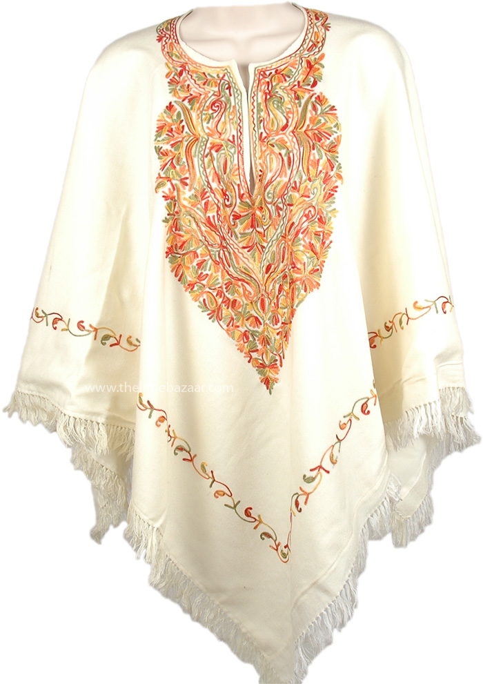 Fringed White Autumn Floral Poncho, Colorful Floral White Wool Poncho Drape