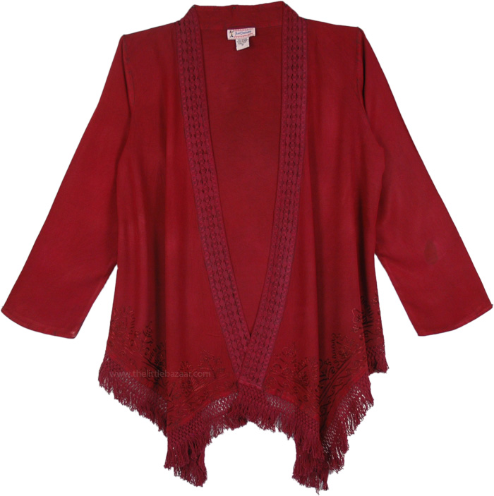 Merlot Soft Drape Kimono in Rayon, Red Wine Open Front Cardigan