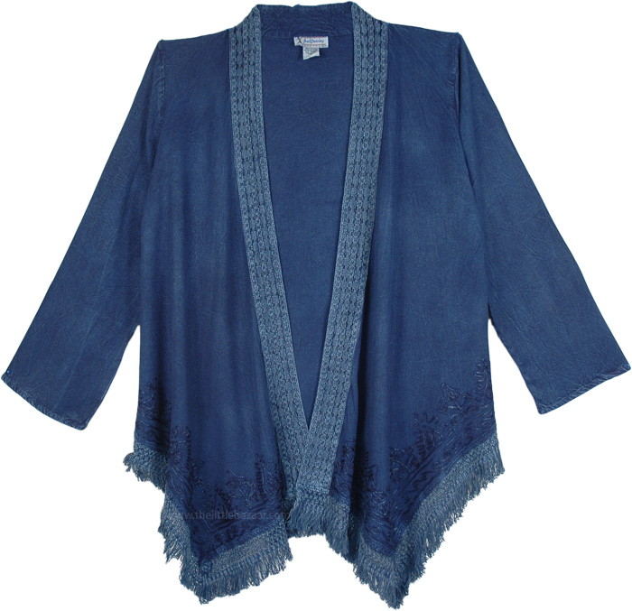 Blue Rayon Soft Drape Kimono in Rayon, Blue Jeans Kimono Shrug Cardigan