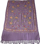 Purple Embroidered Shawl