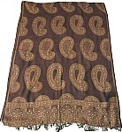 Brown Sequined Jamawar Shawl Scarf Wrap