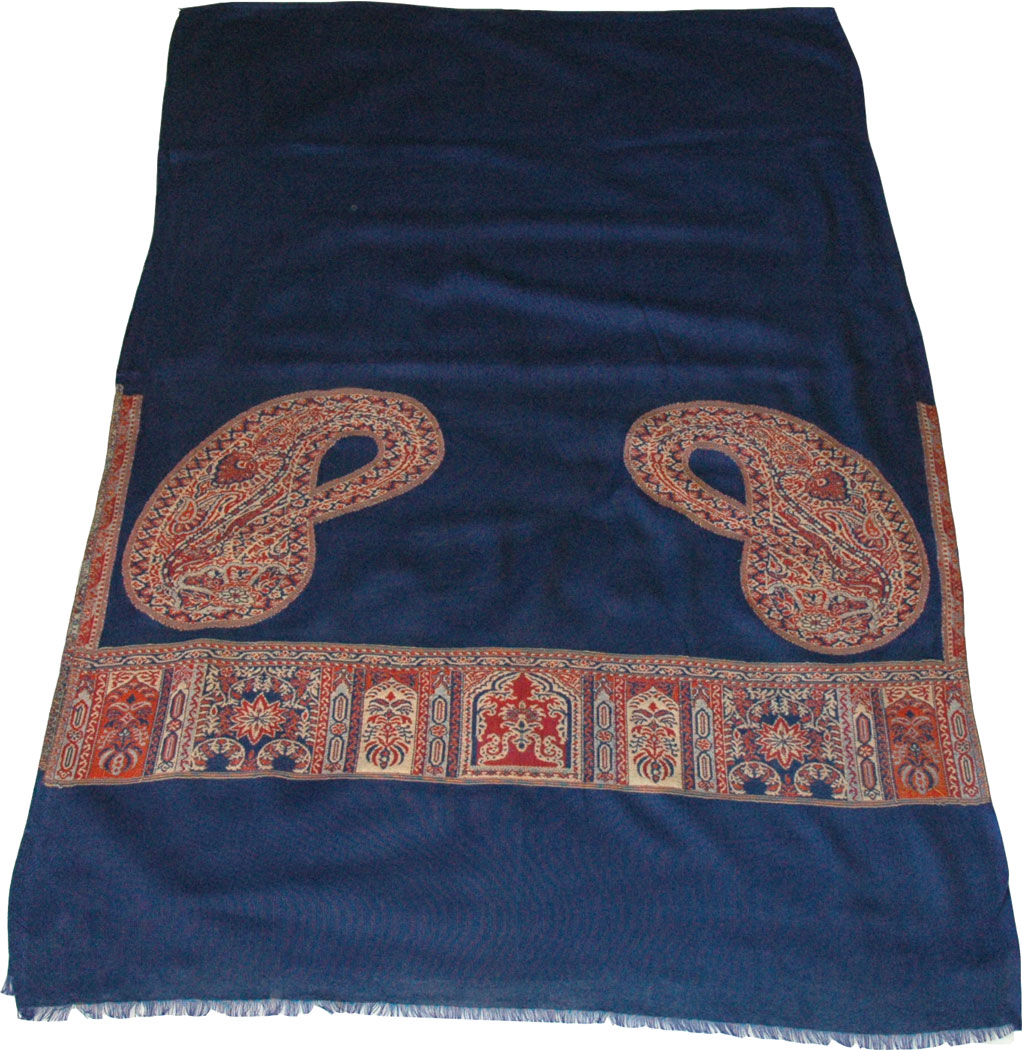 Royal Blue Shawl Scarf with Jamawar Print