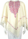 Dusky White Kashmiri Wool Poncho with Floral Embroidery