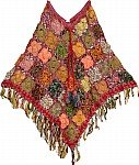 Wine Berry Crochet Poncho