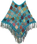 Java Blue Crochet  Poncho