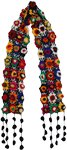 Black Crochet Colorful Floral Scarf