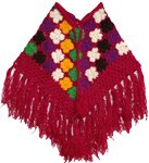 Small Crochet Patchwork Pink Wool Fringe Poncho