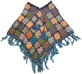 Handworked Crochet Poncho in Martinique Blue
