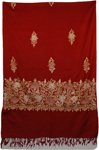 Dark Burgandy Floral Embroidered Shawl
