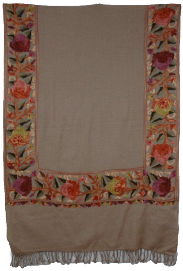 Floral Border Khaki Embroidered Scarf | Scarf-Shawls