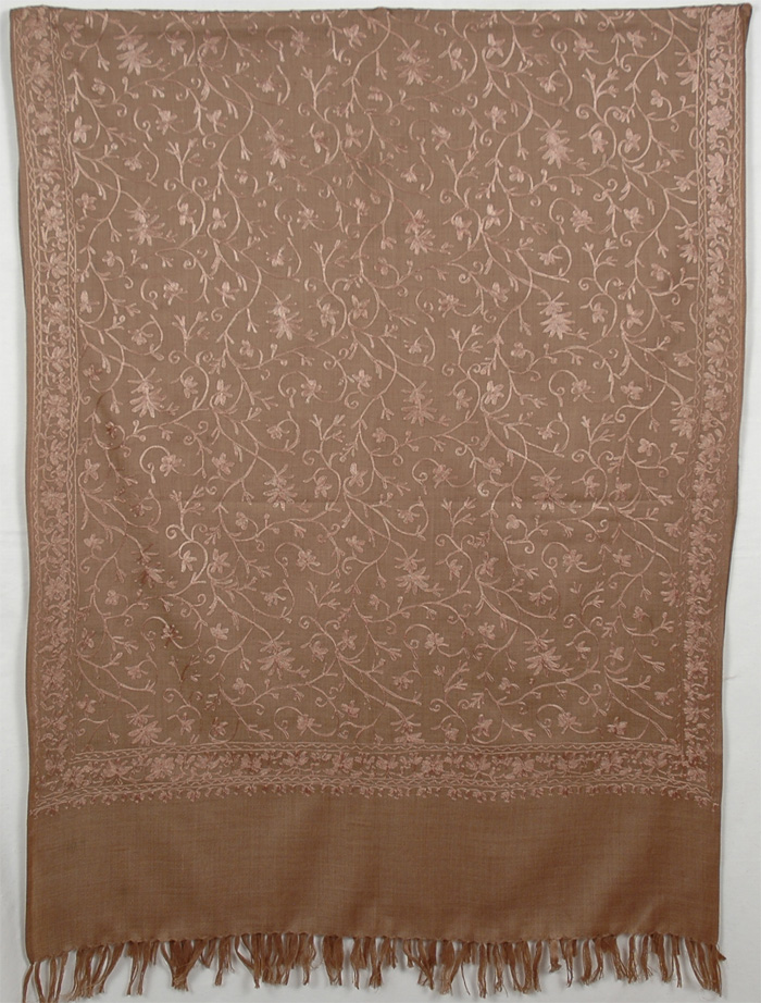 Brown Embroidery Shawl Stole
