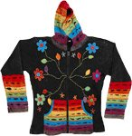Rainbow Hooded Fall Jacket in Cotton with Embroidery