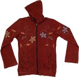Burgundy Hippe Floral Hooded Jacket