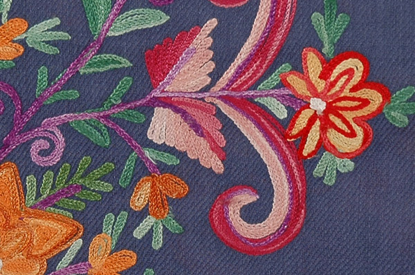 Blooms Woolen Navy Blue Embroidered Stole