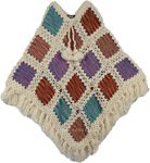 White Givry Fall Crochet Cotton Wool Poncho
