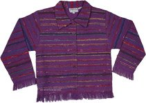 Plum Purple Fringed Bohemian Fall Cotton Jacket