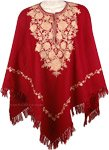 Burgundy Wool Poncho in Champagne Embroidery