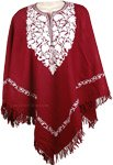 Merlot and White Himalayan Warm Wool Poncho