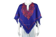 Sapphire Blue Hand Embroidered Fall Wool Poncho