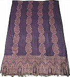 Purple Sequined Jamawar Shawl Scarf Wrap