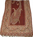 Maroon Paisley Challis Shawl Stole with Sequin