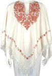 Creamy White Kashmiri Wool Poncho with Floral Embroidery