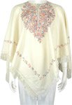 Pearl White Kashmiri Wool Poncho with Floral Embroidery