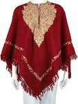 Royal Maroon Kashmiri Wool Poncho with Floral Embroidery