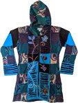 Turquoise Patchwork Long Zip Up Cotton Jacket in Small