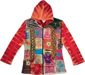 Zip Front XL Red Olive Boho Hippie Hoodie Jacket