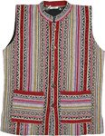 Fleece Lined Beauty Bush Striped Pattern Boho Vest