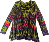 Black Rainbow Full Enticing Tie Dye Cardigan