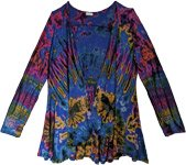 Royal Blue Tie Dye Stretch Rayon Fall Cardigan